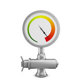 Pressure gauge on white background