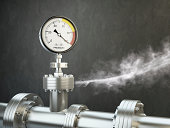 Gas or steam leaking from an industrial pressure gauge. HD 3d Render.