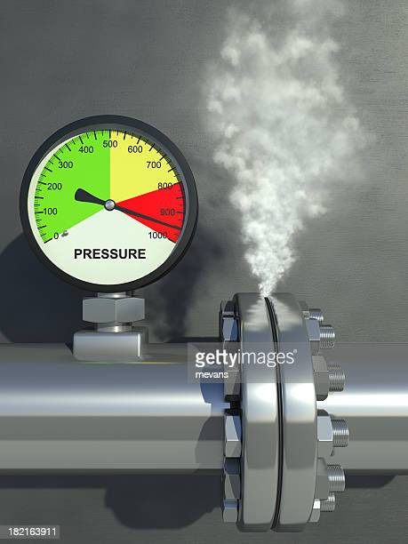 A pressure gauge steaming and showing very high pressure