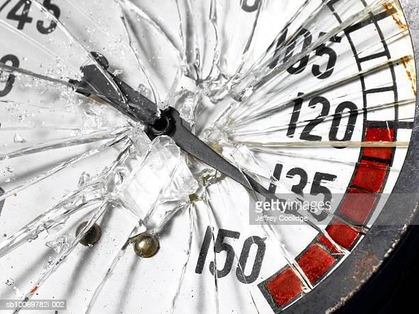 Pressure gauge with broken glass, studio shot