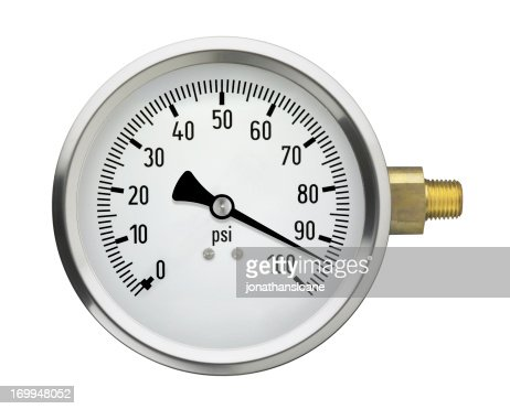 Pressure Gauge with high reading, isolated on white