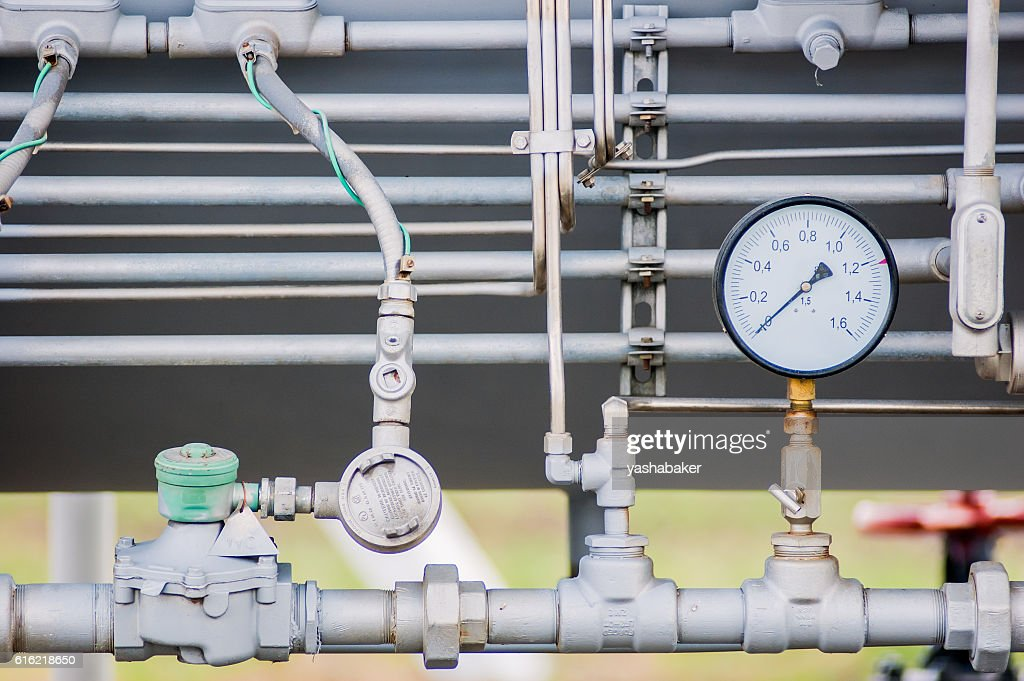 Pressure meter on natural gas pipeline : Stock Photo