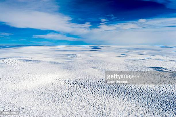 Pressure ridges on the vast barren plain of the Greenland Ice Sheet.