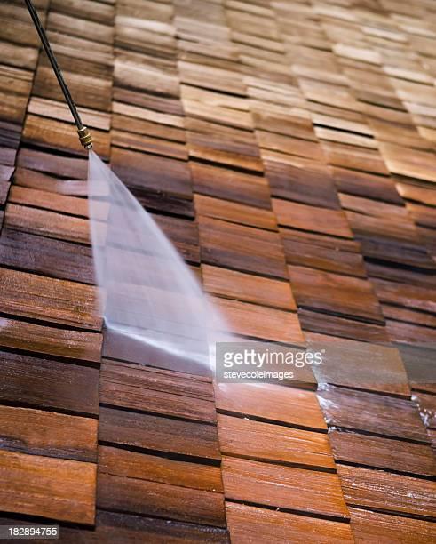 Druck Waschen eines Dach