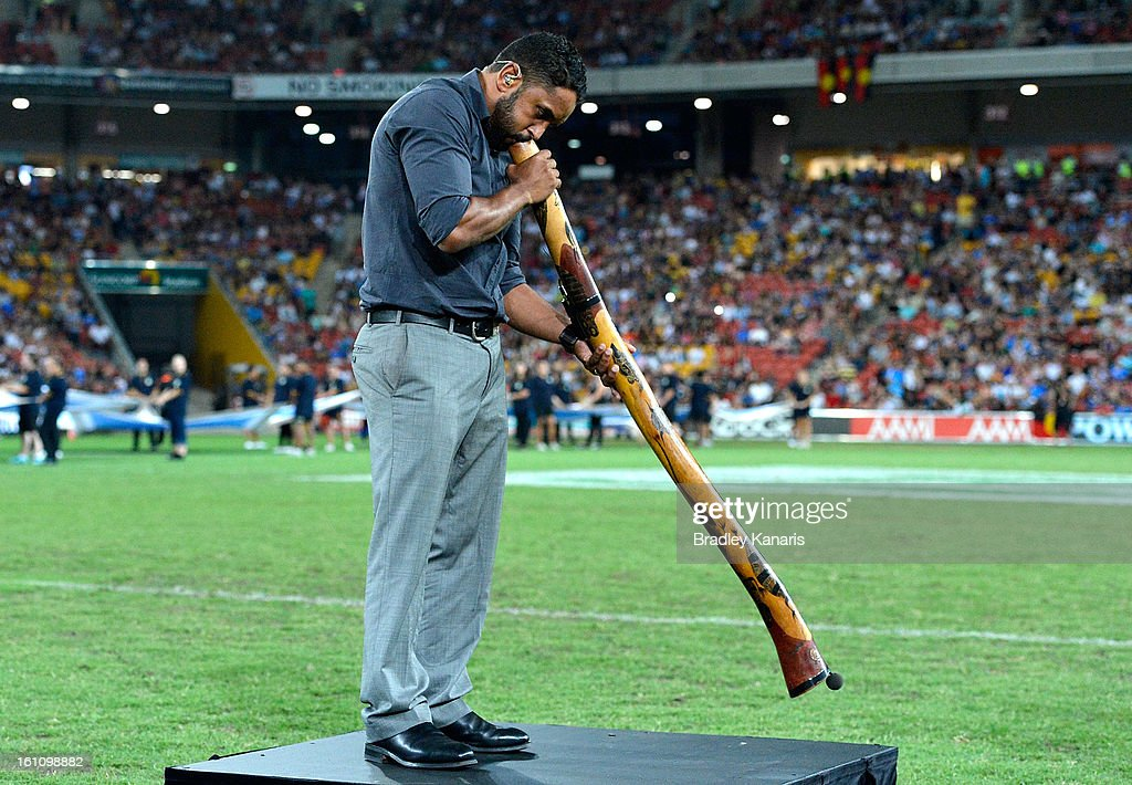 Preston Campbell plays the didgeridoo before the NRL All Stars Game between the Indigenous All Stars and the NRL All Stars at Suncorp Stadium on February 9, 2013 in Brisbane, Australia.
