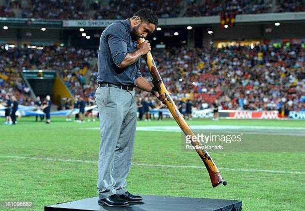 Preston Campbell plays the didgeridoo before the NRL All Stars Game between the Indigenous All Stars and the NRL All Stars at Suncorp Stadium on...
