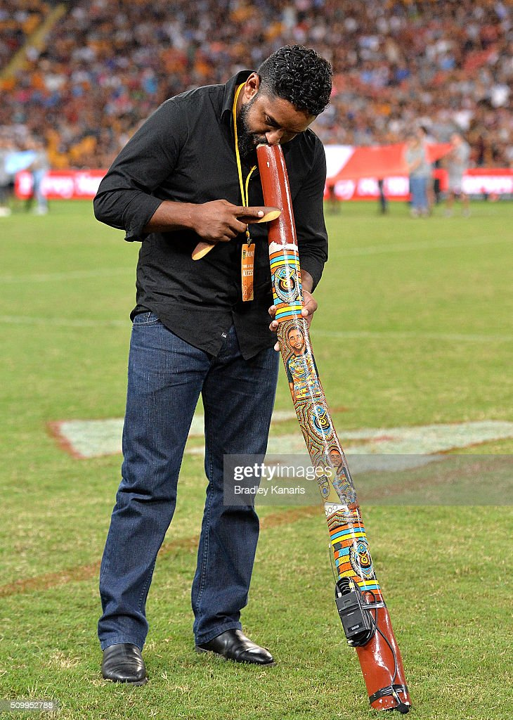 <a gi-track='captionPersonalityLinkClicked' href=/galleries/search?phrase=Preston+Campbell&family=editorial&specificpeople=218064 ng-click='$event.stopPropagation()'>Preston Campbell</a> plays the didgeridoo before the NRL match between the Indigenous All-Stars and the World All-Stars at Suncorp Stadium on February 13, 2016 in Brisbane, Australia.