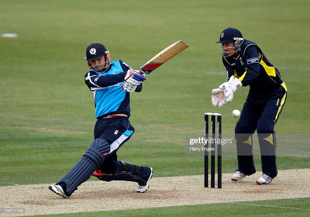 Preston Mommsen of Scotland hits out watched by Hampshire wicketkeeper <a gi-track='captionPersonalityLinkClicked' href=/galleries/search?phrase=Michael+Bates&family=editorial&specificpeople=903251 ng-click='$event.stopPropagation()'>Michael Bates</a> during the Clydesdale Bank Pro40 match between the Hampshire Royals and the Scottish Saltires on June 4, 2012 in Southampton, England.