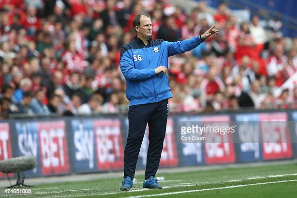 Preston North End manager Simon Grayson gestures during during the League One playoff final between Preston North End and Swindon Town at Wembley...