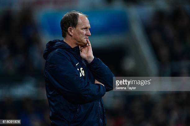 Preston North End Manager Simon Grayson stands pitch side during the EFL Cup Fourth Round Match between Newcastle United and Preston North End at...