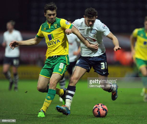 Preston North End's Alan Browne is tackled by Norwich City's Jonny Howson