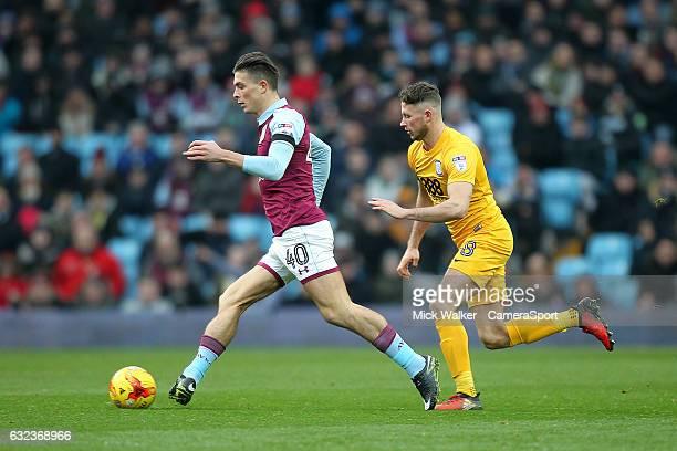 Preston North End's Alan Browne pursues Aston Villa's Jack Grealish during the Sky Bet Championship match between Aston Villa and Preston North End...
