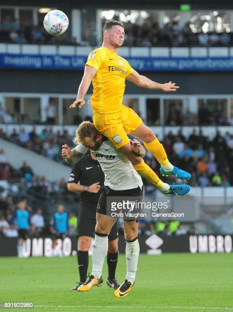 Preston North End's Alan Browne vies for possession with Derby County's Johnny Russell during the Sky Bet Championship match between Derby County and...