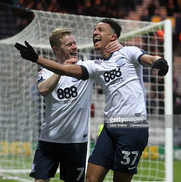 Preston North End's Callum Robinson celebrates scoring his sides second goal with Daryl Horgan during the Sky Bet Championship match between Preston...