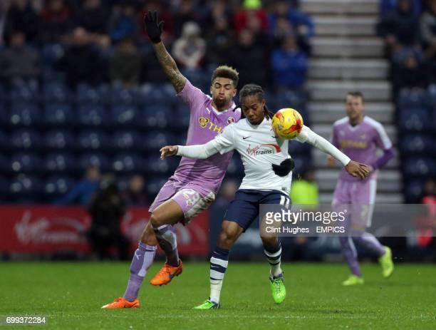 Preston North End's Daniel Johnson and Reading's Danny Williams battle for the ball