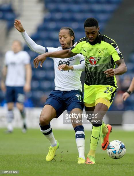 Preston North End's Daniel Johnson and Reading's Tyler Blackett battle for the ball during the Sky Bet Championship match at Deepdale Preston