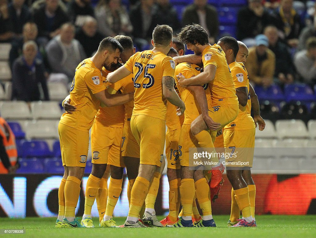 Preston North End's Daniel Johnson celebrates scoring his sides second goal with his team mates during the Sky Bet Championship match between Birmingham City and Preston North End at St Andrews (stadium) on September 27, 2016 in Birmingham, England.