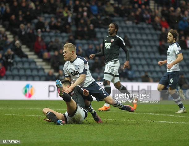Preston North End's Daryl Horgan scores his sides fourth goal during the Sky Bet Championship match between Preston North End and Brentford at...
