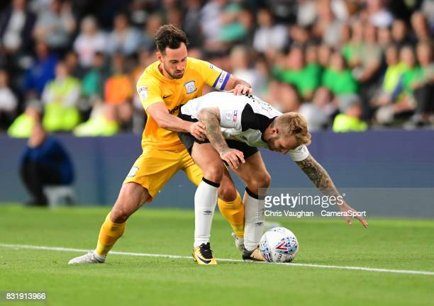 Preston North End's Greg Cunningham vies for possession with Derby County's Johnny Russell during the Sky Bet Championship match between Derby County...