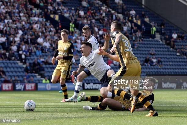 Preston North End's Jordan Hugill is brought down in the penalty area by Sheffield Wednesday's Tom Lees earning himself a penalty scored by Daniel...