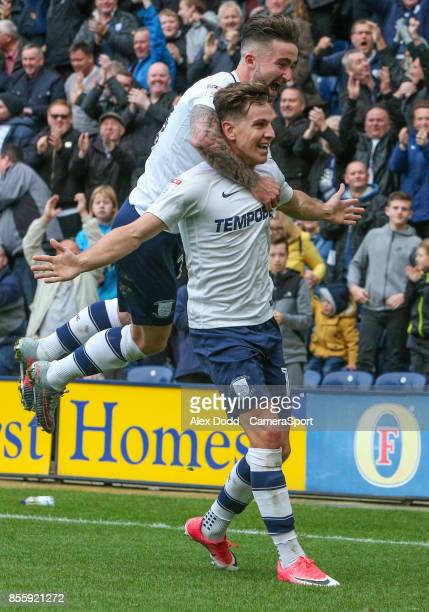Preston North End's Josh Harrop celebrates scoring his side's equalising goal to make the score 11 with Sean Maguire during the Sky Bet Championship...