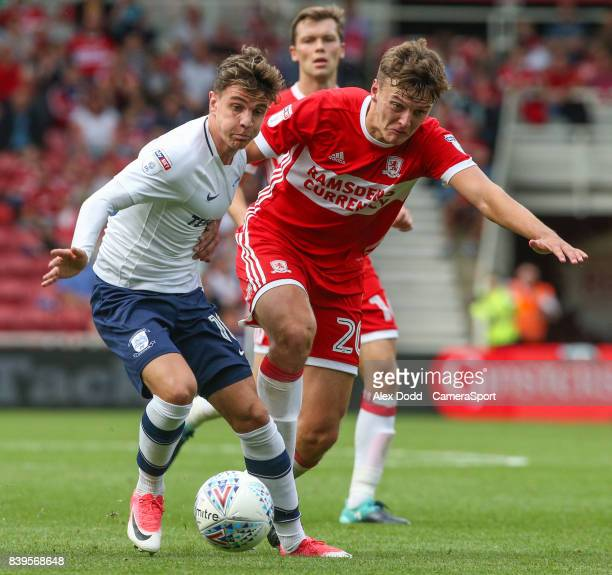 Preston North End's Josh Harrop gets away from Middlesbrough's Dael Fry during the Sky Bet Championship match between Middlesbrough and Preston North...