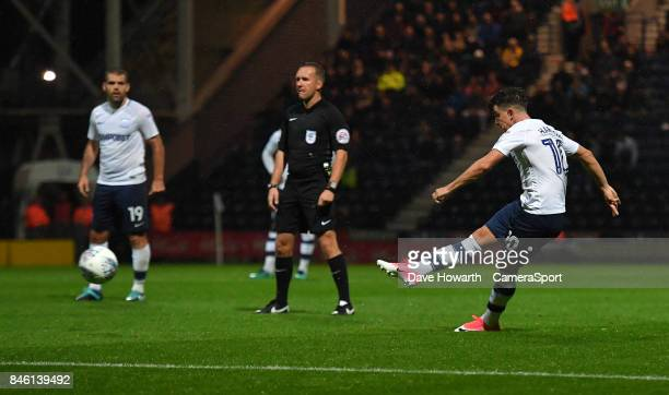Preston North End's Josh Harrop scores his sides opening goal during the Sky Bet Championship match between Preston North End and Cardiff City at...