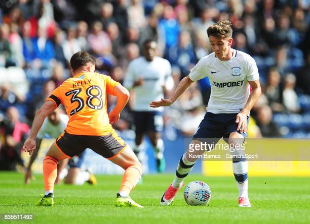 Preston North End's Josh Harrop under pressure from Reading's Liam Kelly during the Sky Bet Championship match between Preston North End and Reading...