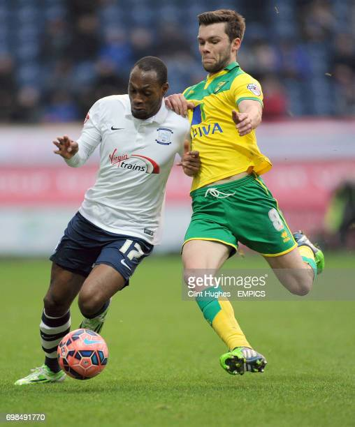 Preston North End's Kyel Reid is tackled by Norwich City's Jonny Howson
