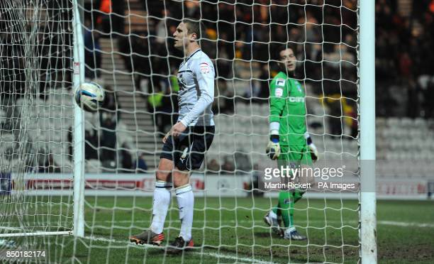 Preston North End's Nicky Wroe celebrates scoring from the penalty spot past Oldham Athletic's Dean Bouzanis during the npower Football League One...