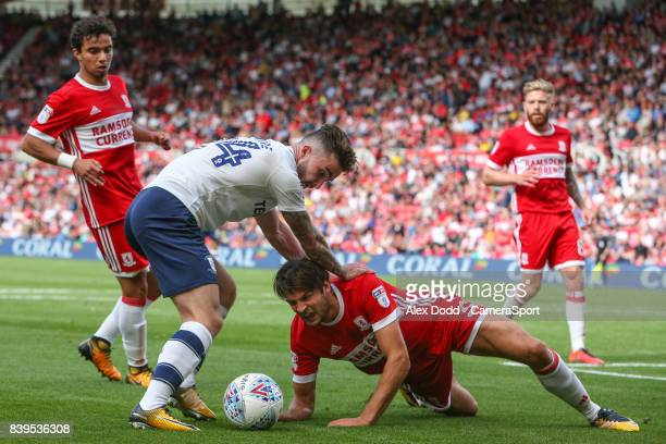 Preston North End's Sean Maguire battles with Middlesbrough's George Friend during the Sky Bet Championship match between Middlesbrough and Preston...