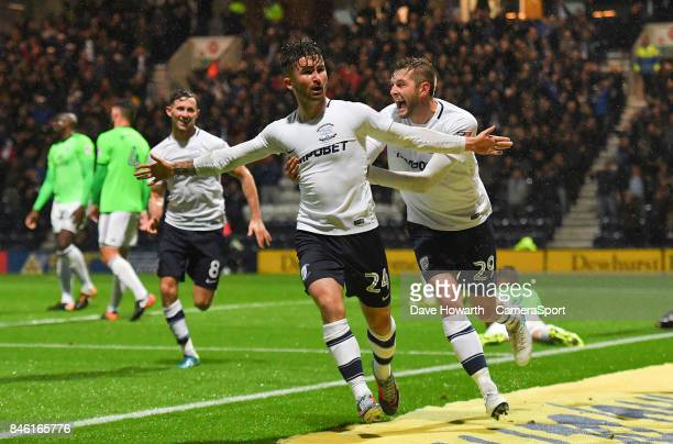 Preston North End's Sean Maguire is congratulated on scoring his sides 2nd goal during the Sky Bet Championship match between Preston North End and...