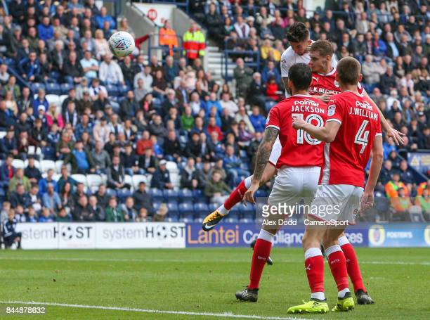 Preston North End's Sean Maguire scores the opening goal during the Sky Bet Championship match between Preston North End and Barnsley at Deepdale on...