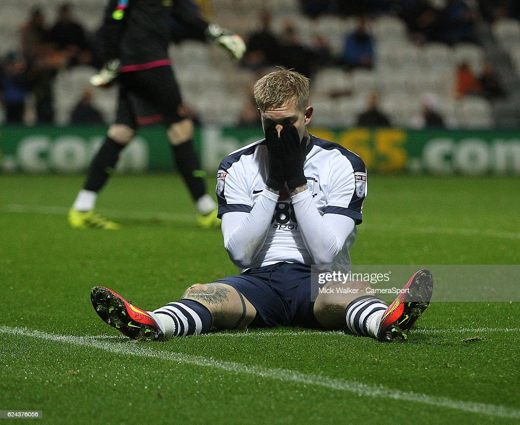 Preston North End's Simon Makienok regrets a missed chance during the Sky Bet Championship match between Preston North End and Wolverhampton Wanderers at Deepdale on November 19, 2016 in Preston, England.