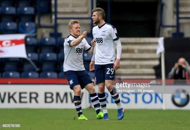 Preston North End's Tom Barkhuizen celebrates with teammate Daryl Horgan after he scores his sides first goal during the Sky Bet Championship match...