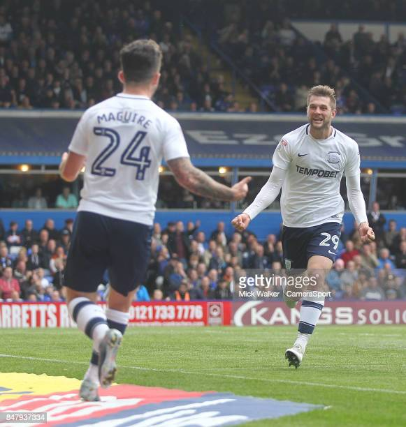 BIRMINGHAM ENGLAND SEPTEMBER Preston North End's Tom Barkuizen celebrates scoring his sides third goal with Sean Maguire during the Sky Bet...