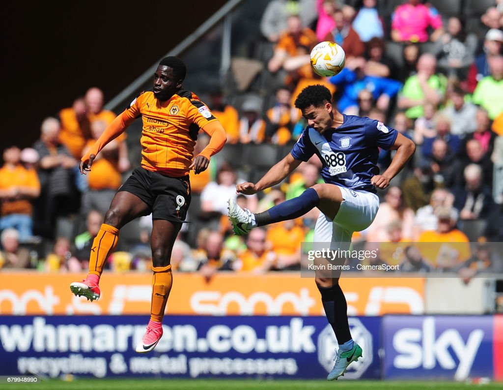 Preston North End's Tyias Browning vies for possession with Wolverhampton Wanderers' Nouha Dicko during the Sky Bet Championship match between Wolverhampton Wanderers and Preston North End at Molineux on May 7, 2017 in Wolverhampton, England.