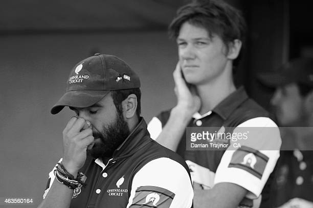 Preston White of Queensland reacts as his team lose a wicket during the Imparja Cup Final on February 14 2015 in Alice Springs Australia