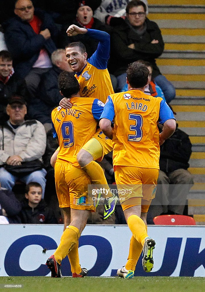 Preston's Joe Garner celebrates after scoring the teams first goal during the Sky Bet League One match between Leyton Orient and Preston North End at The Matchroom Stadium on November 16, 2013 in London, England.