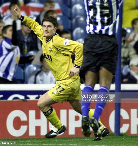 Preston's Jon Macken celebrates his goal during the Nationwide Division One game against Sheffield Wednesday at Hillsborough Sheffield THIS PICTURE...