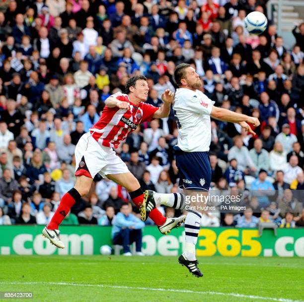 Preston's Jon Parkin heads the ball out of the Preston goal mouth during the CocaCola Championship Play Off Semi Final First Leg match at Deepdale...