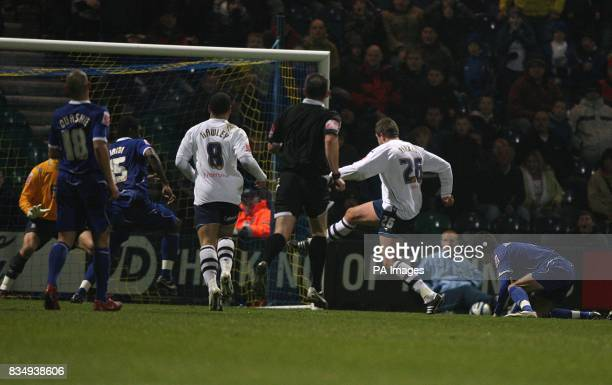 Preston's Jon Parkin scores his sides first goal of the game