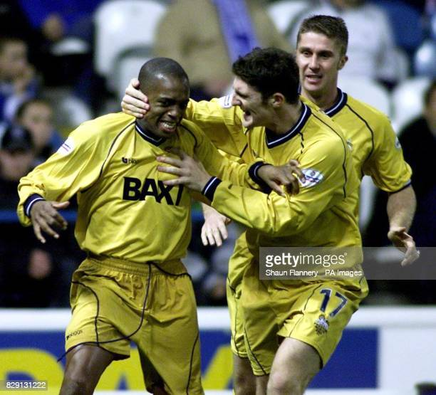 Preston's Mark Rankine is congratulated by teammate Jon Macken after scoring the equaliser during the Nationwide Division One game against Sheffield...