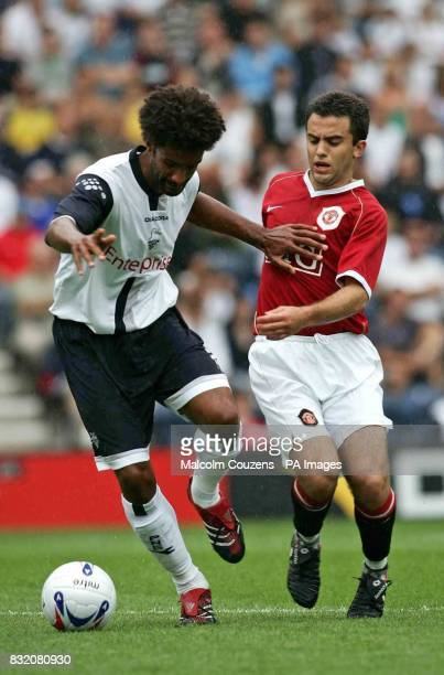 Preston's Yaoul Mawhene and Manchester United's Giuseppe Rossi during a preseason friendly at Deepdale Preston