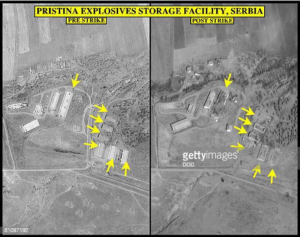 PreStrike And PostStrike Photo Of Pristina Explosives Storage Facility Used By Secretary Of Defense William S Cohen And Chairman Of Trhe Joint Chiefs...