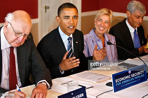 Presumed Democratic presidential candidate Sen Barack Obama meets with some of his top economic advisors including Former Fed Chairman Paul Volker...