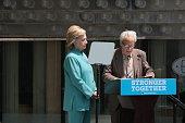 Presumptive Democratic presidential nominee Hillary Clinton and Marty Rosenberg who was a contractor at Trump Taj Mahal at the podium at Boardwalk...