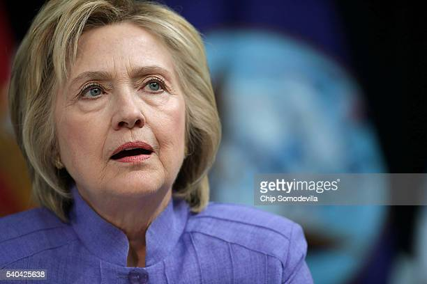 Presumptive Democratic presidential nominee Hillary Clinton participates in a round table conversation on national security at the Virginia Air and...
