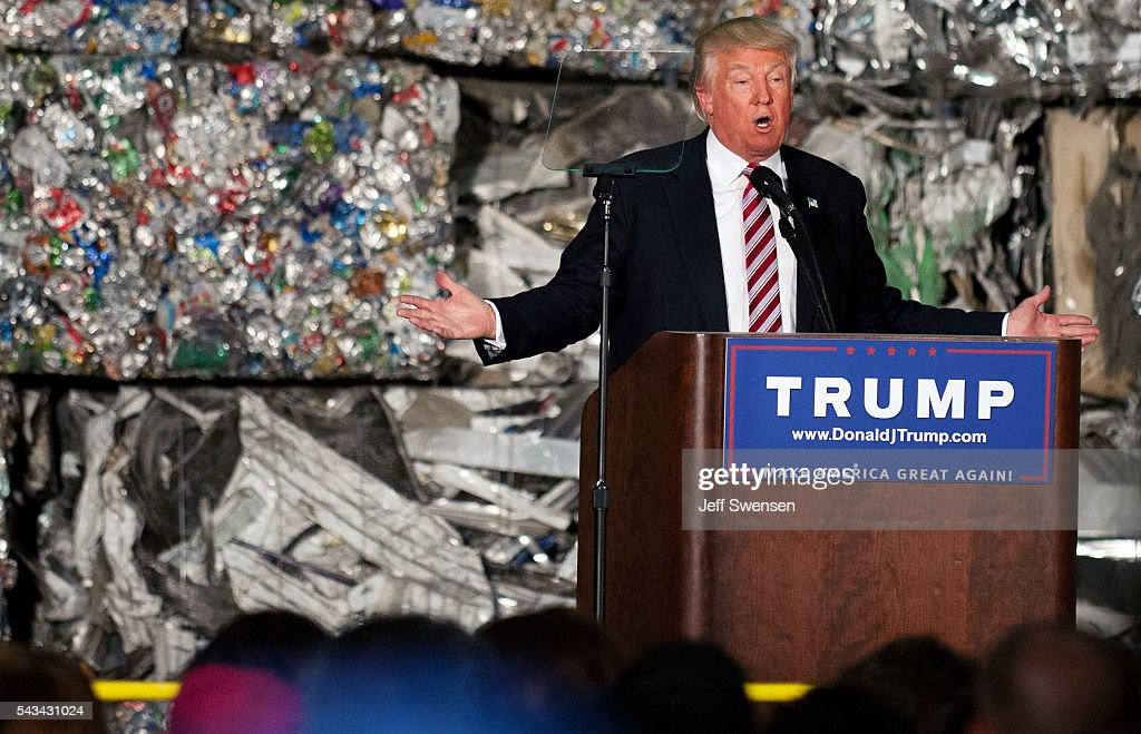 Presumptive Republican candidate for President <a gi-track='captionPersonalityLinkClicked' href=/galleries/search?phrase=Donald+Trump+-+Born+1946&family=editorial&specificpeople=118600 ng-click='$event.stopPropagation()'>Donald Trump</a> speaks to guests during a policy speech during a campaign stop at Alumisource on June 28, 2016 in Monessen, Pennsylvania. Trump continued to attack Hillary Clinton while delivering an economic policy speech targeting globalization and free trade.