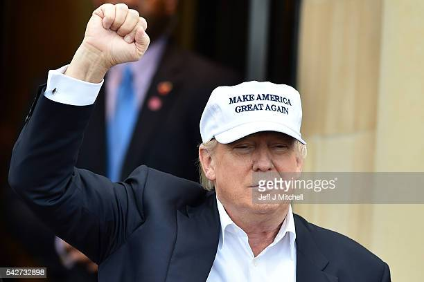 Presumptive Republican nominee for US president Donald Trump arrives to his Trump Turnberry Resort on June 24 2016 in Ayr Scotland Mr Trump arrived...